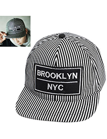 Casual Black Stripe Pattern Simple Design Canvas Baseball Caps