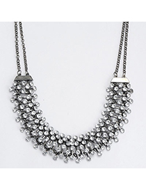 popular Gun Black Diamond Decorated Simple Design Alloy Bib Necklaces