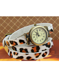 Preferential White Leopard Pattern Simple Design Alloy Ladies Watches