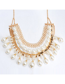 Sweet Gold Color & White Pearl Decorated Multilayer Design