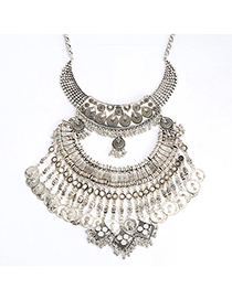 High-quality Silver Color Coin Shape Decorated Multilayer Design Alloy Fashion Necklaces