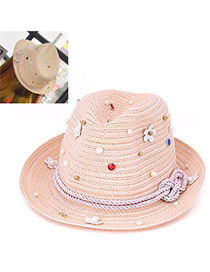 Upscale Pink Beads Decorated Flower Design Paper String Sun Hats