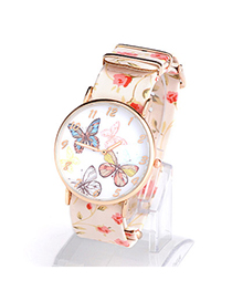 Brilliant Beige Butterfly Pattern Simple Design Alloy Ladies Watches