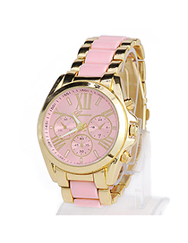 High-quality Pink Roman Numerals Pattern Simple Design Alloy Men's Watches