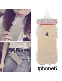 Unique Transparent White Diamond Decorated Nipple Shape Case Design Silicone Iphone 6