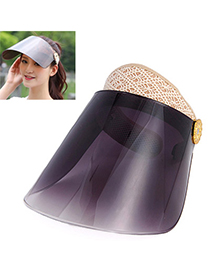 Adjustable Gold Color & Gray Adumbral Empty Hat Shape Simple Design Mesh Sun Hats