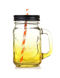 Gradient Color Yellow 550ml Letter Pattern Transparent Glass Design With A Straw