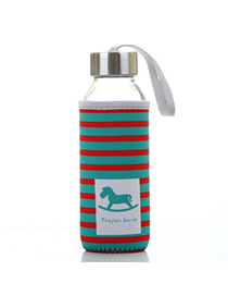 Portable Red & Green 430ml Cartoon Pattern Cloth Case Bottle Design
