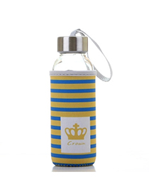 Portable Blue & Yellow 430ml Cartoon Pattern Cloth Case Bottle Design Glass Household Goods