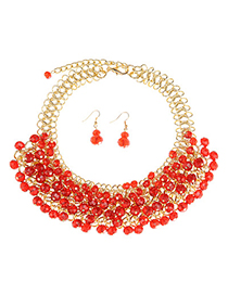 Latest Style Red Beads Decorated Multilayer Design Alloy Fashion Necklaces