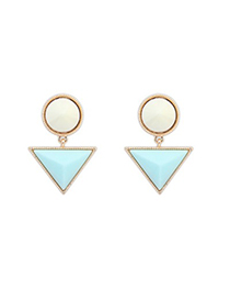Fashion Light Blue Triangle Gemstone Pendant Design Alloy Stud Earrings