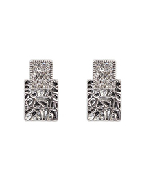 Collapsibl Antique Silver Sparkly Diamond Decorated Square Shape Design Alloy Stud Earrings