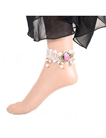 Fake pink flower decorated lace design alloy Fashion Anklets