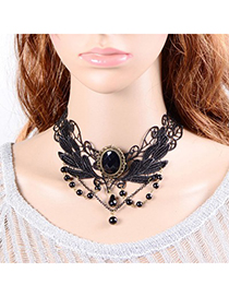 Plain black gemstone decorated lace design alloy Chokers