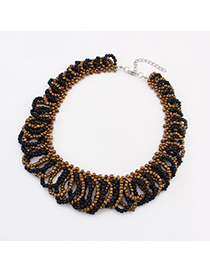 Caterpilla black beads weave design alloy Bib Necklaces