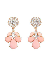 Outdoor pink CZ diamond decorated petal design alloy Korean Earrings