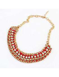 Christmas red CZ diamond decorated weave design alloy Korean Necklaces