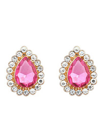 Chiropract plum red CZ diamond decorated waterdrop design alloy Korean Earrings