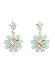 Latest light blue gemstone decorated flower design alloy Stud Earrings