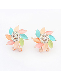 Choker multicolor diamond decorated flower design alloy Stud Earrings