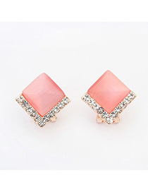 Diy pink diamond decorated square shape design alloy Stud Earrings