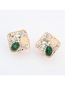 Indian green flower decorated square shape design alloy Stud Earrings
