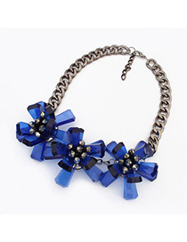 24K blue flower decorated simple design resin Fashion Necklaces