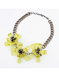 Fantasy yellow flower decorated simple design resin Fashion Necklaces