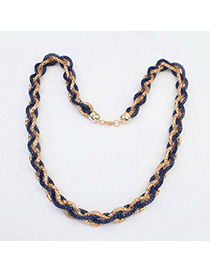 Fake Dark Blue hollow out weave simple design Alloy Chains