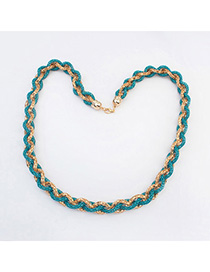 Highwaist Light Blue hollow out weave simple design Alloy Bib Necklaces