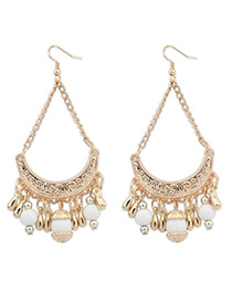 Choker White Tassel Decorated Curve Shape Design Alloy Korean Earrings