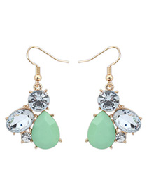Magnifying Green Diamond Decorated Waterdrop Shape Design Alloy Korean Earrings