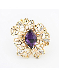 Colorful Purple Gemstone Decorated Hollow Out Design Alloy Korean Rings