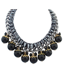 Equestrian Black Beads Decorated Weave Design Alloy Korean Necklaces
