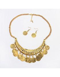 Genuine Antique Gold Diamond Decorated Crescent Shape Design Alloy Jewelry Sets