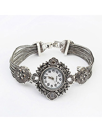 Tory Silver Color Diamond Decorated Rhombus Shape Design Alloy Ladies Watches