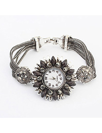 Affordable Black Diamond Decorated Flower Design Alloy Ladies Watches