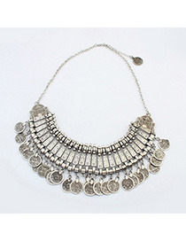 Layered Antique Silver Coins Decorated Tassel Design Alloy Bib Necklaces