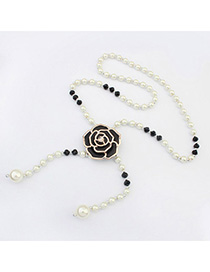 French Black Pearl Decorated Rose Design Alloy Korean Necklaces