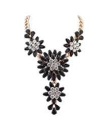 Sample Black Diamond Decorated Large Flower Design Alloy Bib Necklaces