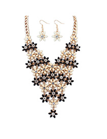 Couture Black & Beige Diamond Decorated Flower Design Alloy Jewelry Sets