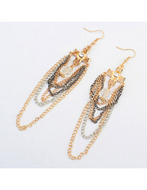 Lucky Multicolor Cross Shape Decorated Multilayer Chains Design Alloy Korean Earrings