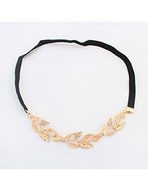Aquamarine Gold Color Diamond Decorated Leaf Shape Design Alloy Hair band hair hoop