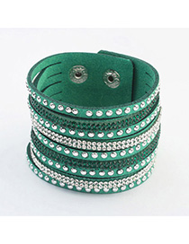 Hipster Green Diamond Decorated Multilayer Design Alloy Korean Fashion Bracelet