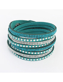 Indie Green Diamond Decorated Multilayer Design Alloy Korean Fashion Bracelet