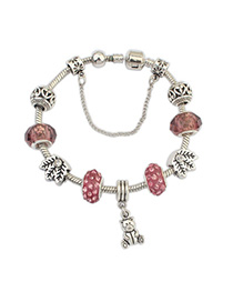 Magnifying Red Beads Decorated Bear Shape Design Alloy Korean Fashion Bracelet