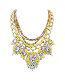 Modest Yellow Gemstone Decorated Multilayer Design Alloy Korean Necklaces