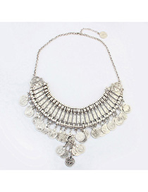 Wool Antique Silver Coin Shape Decorated Multilayer Design Alloy Fashion Necklaces