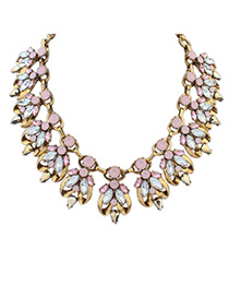 Mint Ligth Pink Diamond Decorated Bee Shape Design Alloy Fashion Necklaces