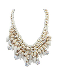Sample Beige Gemstone Decorated Tassel Waeve Design Alloy Bib Necklaces